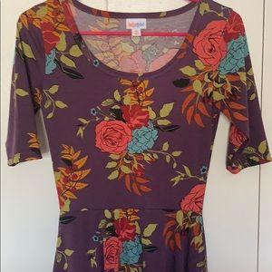 LulaRoe Purple Floral Nicole Dress